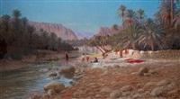 les lavandières dans l'oasis by antoine gadan