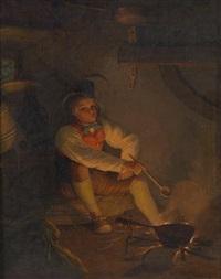 kleiner koch an der feuerstelle by friedrich simon
