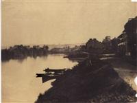 bords de la seine à sevres. vue prise de la rive gauche, d'aval en amont, entre le bas-sèvres et le bas-meudon by henri-victor regnault