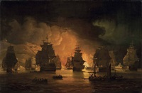 the bombardment of algiers, 27th august by thomas luny