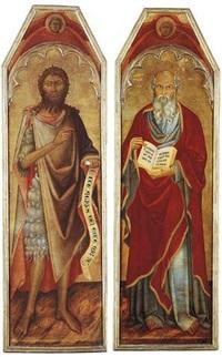 saint john the baptist; saint john the evangelist by bartolo di fredi