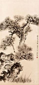 苍松 立轴 水墨纸本 by jiang jingguo