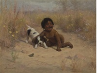 child and puppy playing with a frog by alice gray coutts