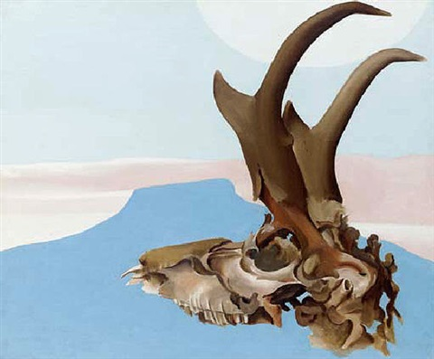 antelope head with pedernal by georgia okeeffe