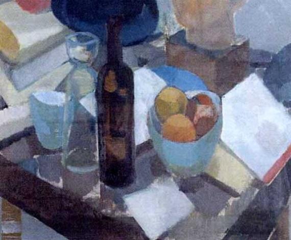 stilleben med flaska glas och frukt by magnus creutz