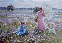 two girls collecting flowers in a meadow by aleksandr averin