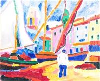 bateaux et ville by jacques pons
