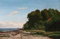 coastal scene at strandmøllekroen in denmark by ellen margrethe jensen