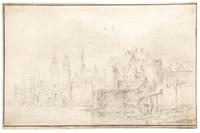 paysage fluvial avec un moulin by cornelis simonsz van der schalcke