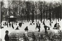 première neige, jardin du luxembourg by edouard boubat