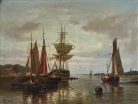 harbour scene by abraham hulk the younger