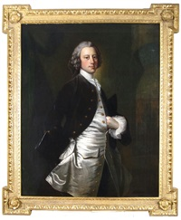 portrait of gentleman thought to be george vernon, three quarter length, standing by thomas hudson