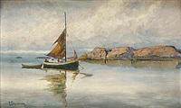 kustlandskap med segelbåt by per gjemre