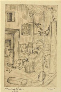 untitled (village kitchen) by nandalal bose