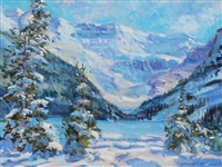 winter, lake louise by fred cameron