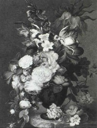 still life of mixed summer flowers in an urn standing on a marble ledge by j. michael c. goddard
