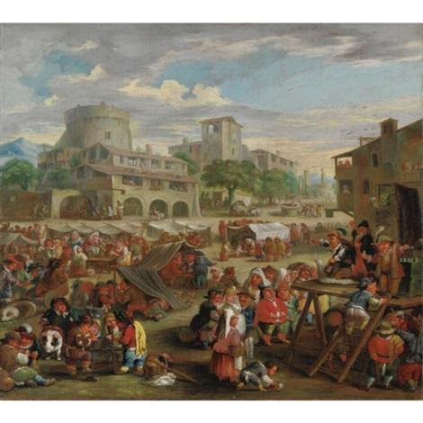 scena di mercato e arringa del ciarlatano by enrico albricci
