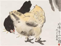 2 hens by xu beihong and qi baishi