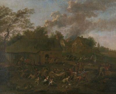 ein scharmützel in einem dorf by jan peter van bredael the younger