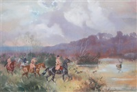 départ de la chasse à courre et de la meute dans un sous-bois by karl andré jean (baron) reille