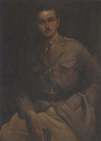portrait of charles chetwynd in officer's uniform by hal (henry william lowe) hurst