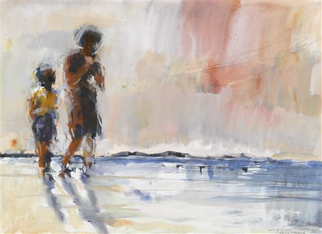 children at the beach by wayne thiebaud