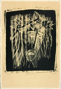 christus (kopf, nach rechts blickend, haare schulterlang; hell auf dunklem grund) by otto dix
