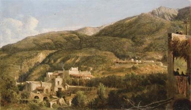 vue de larrière pays à ischia italie by george loring brown