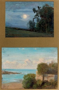 paysage (2 works) by nicolas louis cabat