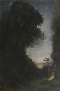 le sommeil de diane by jean-baptiste-camille corot
