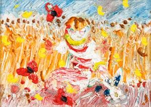 boy with rabbit in a wheatfield by john de burgh perceval