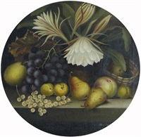 still life of fruit and flowers by w.j. leggett