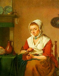 a maid, seated by a table in a kitchen, grinding coffee by jacobus johannes lauwers