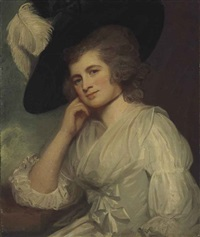 portrait of lady laetitia à court, half-length, in a white muslin dress with satin bows by george romney