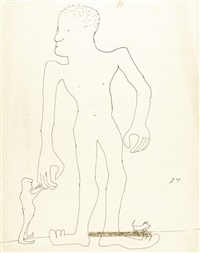 untitled illustration of a large man with a smaller man and dog by john lennon