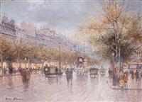 tramway sur les grands boulevards à paris by antoine blanchard