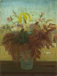flowers in a windowsill by kees andrea