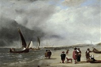 figures conversing on the beach at scheveningen by edward william andrews