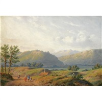 figures in a mountainous summer landscape by carl eduard ahrendts