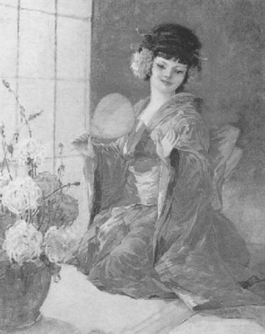 geisha mit blumen geschmückt by josef jaczay