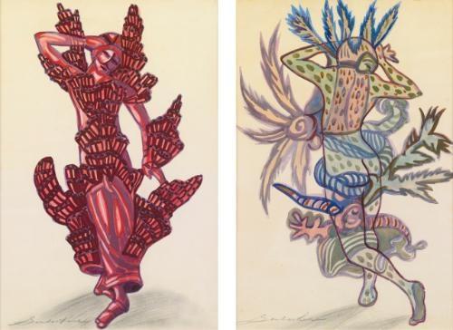 costume designs for the underwater ballet in sadko at the metropolitan opera company pair by sergei yurevich sudeikin