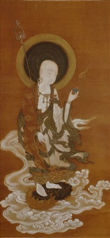 jizō raigō, the bōdhisattva of grace and the underworld, flying on a cloud by mitsunori tosa