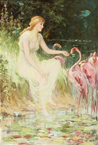 nymph with flamingos by frederick stuart church