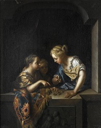 three girls at a stone window by pieter van der werff