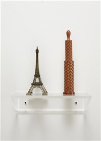 untitled (eiffel tower, pepper mill) (2 works) by haim steinbach
