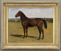 horse in a landscape by rosa bonheur