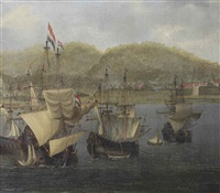 four voc three-masters at anchor in front of a colonial fortress by reinier nooms