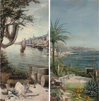 fish on a northern french quay (+ a mediterranean villa; pair) by f. moinson