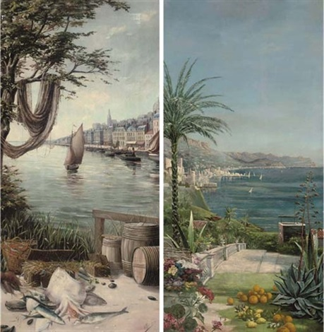 fish on a northern french quay a mediterranean villa pair by f moinson