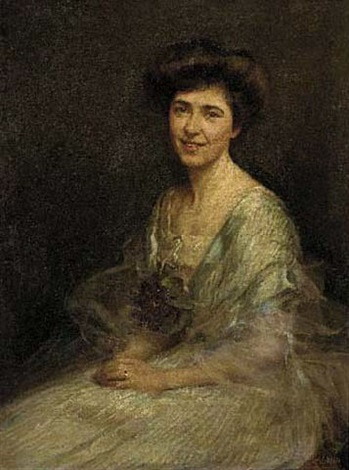 portrait of hester wade in a pale blue dress with flowers at her corsage by maud hall rutherford neale